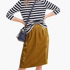 J. Crew Velvet Pocket Vintage Gold Slip On Skirt
